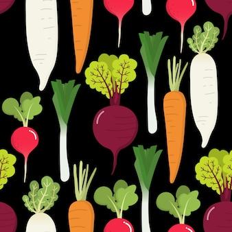 大根と野菜のシームレスなパターン