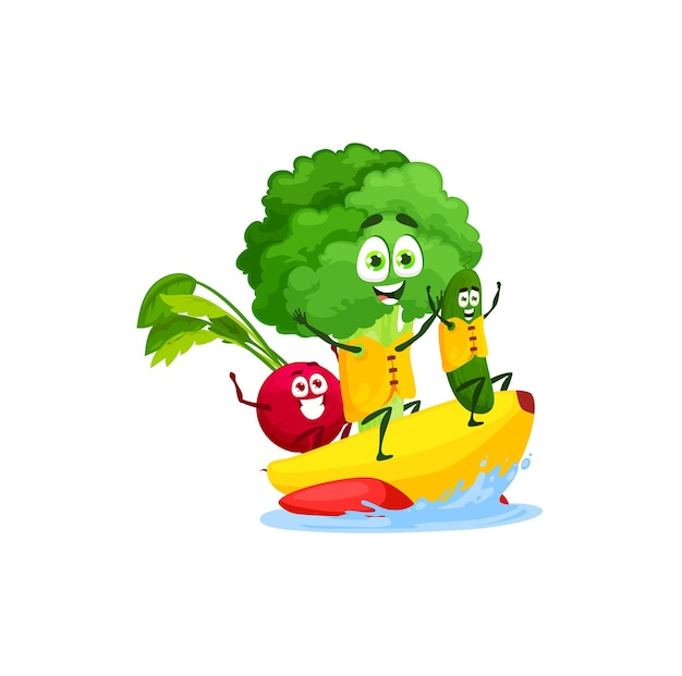 Radish, broccoli and cucumber swimming on water banana isolated cute cartoon characters on summer rest. vector vegetarian food, cocktail ingredients, kids food on sea vacation holidays, healthy eating