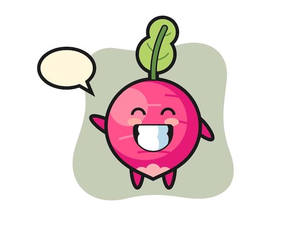 Radish cartoon character doing wave hand gesture, cute style design for t shirt, sticker, logo element