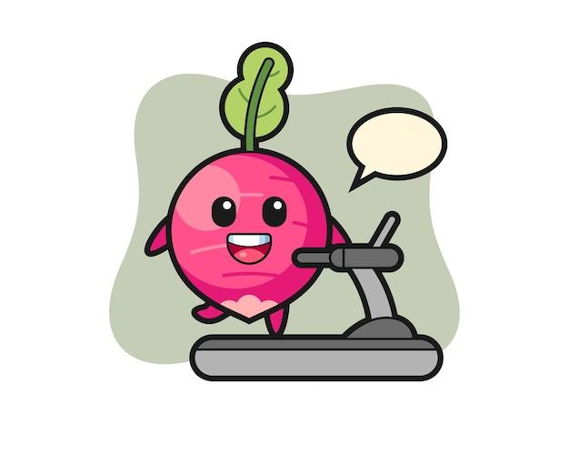 Radish cartoon character walking on the treadmill, cute style design for t shirt, sticker, logo element