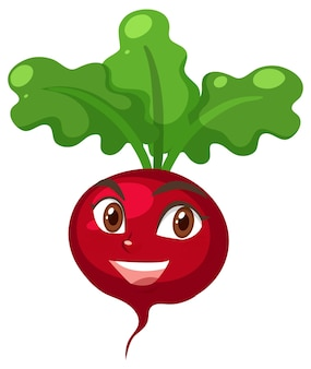 Radish cartoon character with happy face expression on white background