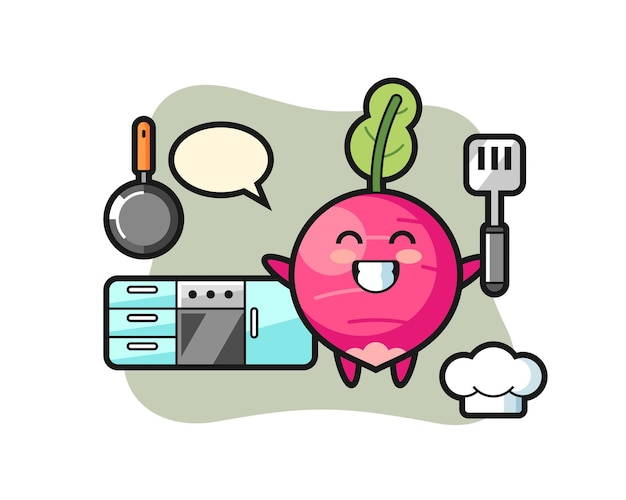 Radish character illustration as a chef is cooking, cute style design for t shirt, sticker, logo element