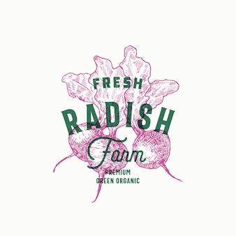 Radish farm abstract sign, symbol or logo template.