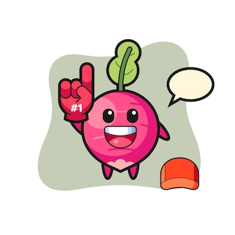 Карикатура иллюстрации редиса с перчаткой фанатов номер 1, милый стиль дизайна для футболки, наклейки, элемента логотипа
