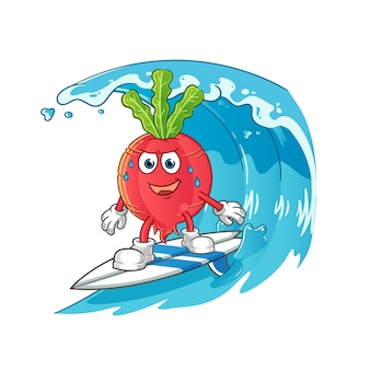 波のキャラクターで大根サーフィン