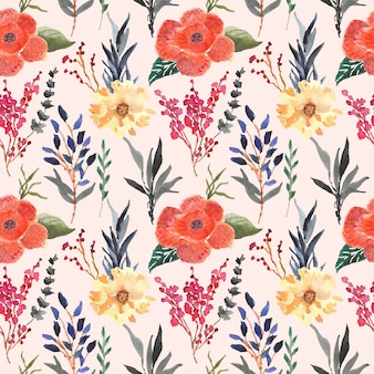 Rafflesia arnoldii floral watercolor seamless pattern