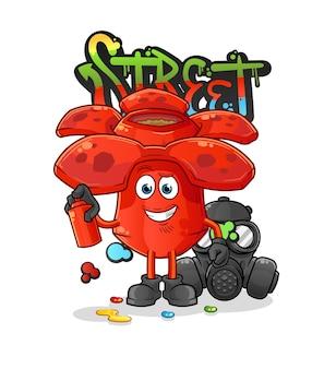 Rafflesia graffiti artist  . cartoon mascot cartoon mascot