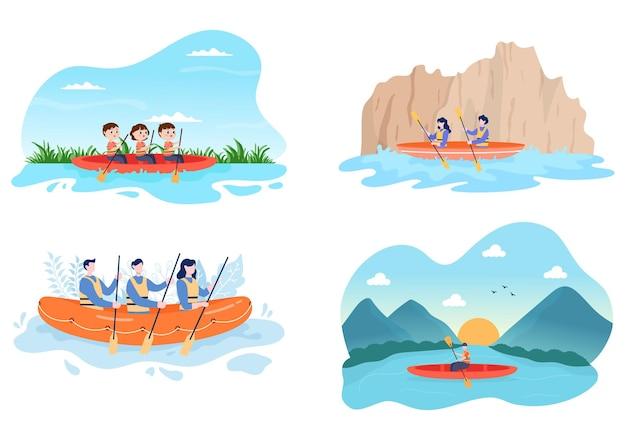 Рафтинг, гребля на каноэ, каякинг в реке векторные иллюстрации
