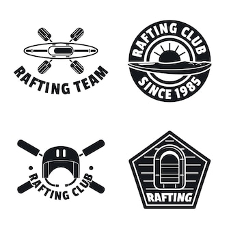 Rafting kayak canoe logo icons set