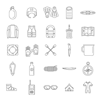 Rafting kayak water canoe icons set