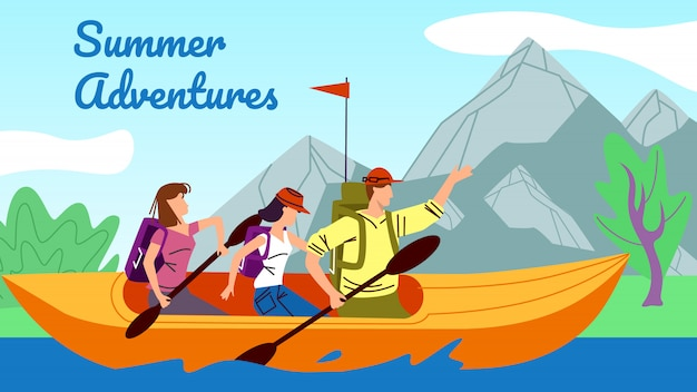 Rafting, kayaking, people in kayak row down river