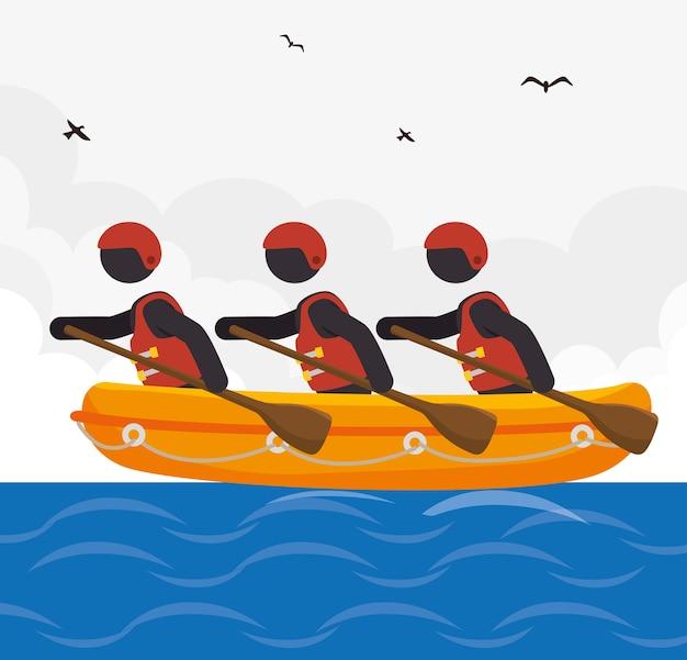 Rafting kayaking team  design
