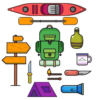 Rafting and outdoors icons, illustration