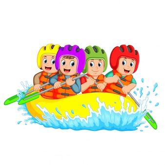 Rafting team splashing the waves