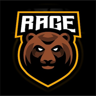 怒りのクマeスポーツゲームのロゴのテンプレート