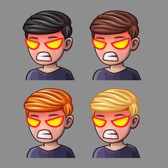 Эмоциональные иконки rage man для социальных сетей и стикеров
