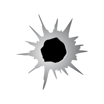 Ragged hole in metal or paper from bullet. damage or crack on surface in monochrome color. vector illustration isolated on white background