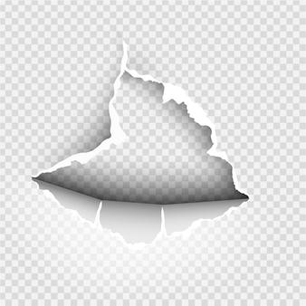 투명 배경에 찢어진 종이로 찢어진 비정형 구멍