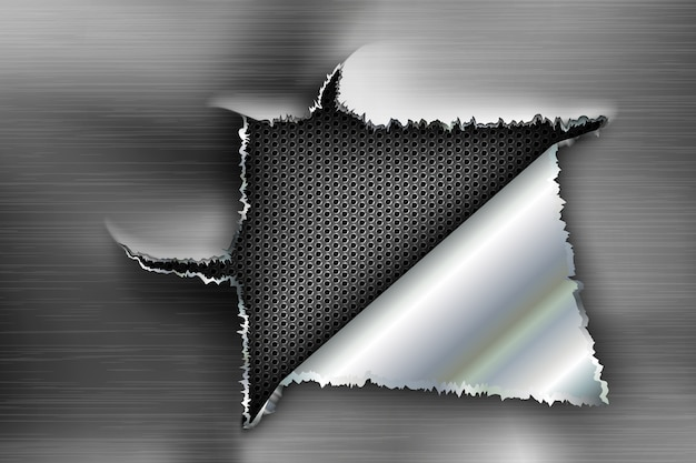 Рваная дыра в рваной стали на металлическом фоне