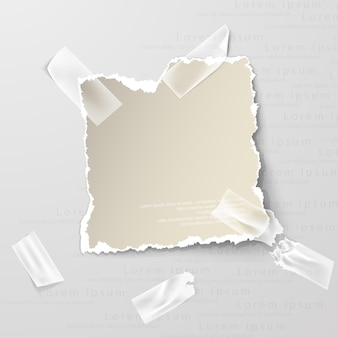 Ragged hole torn in ripped paper