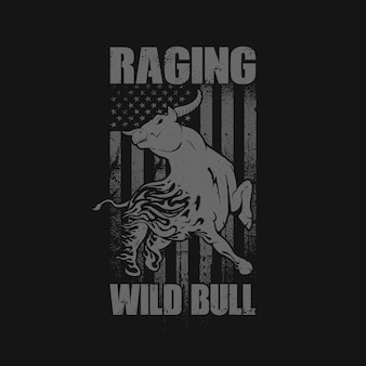 Raging bull america background illustration