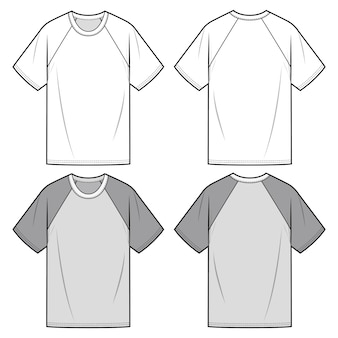 Raglan sleeve tee fashion flat sketch template