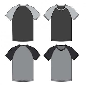 Raglan t shirt  fashion flat sketch template