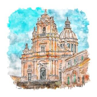 Ragusa 이탈리아 수채화 스케치 손으로 그린 그림
