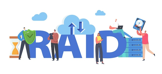 Raid concept. tiny characters in data center around huge redundant array of independent disks storage, backup servers modern technologies poster, banner or flyer. cartoon people vector illustration