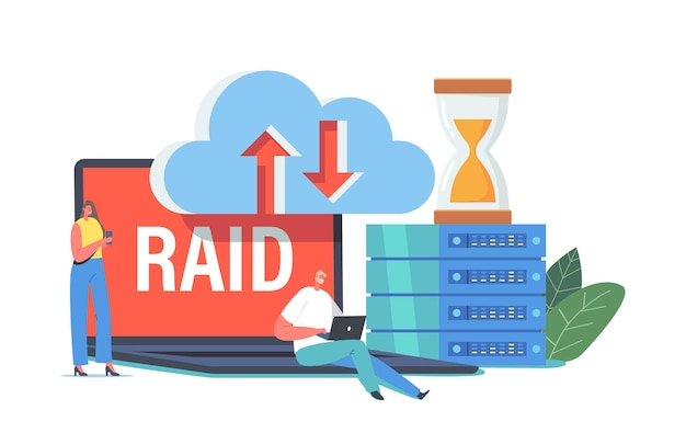 Raid data storage in datacenter, tiny characters at huge pc block, hourglass, virtual cloud. innovative hosting server system for programming and research analysis. cartoon people vector illustration