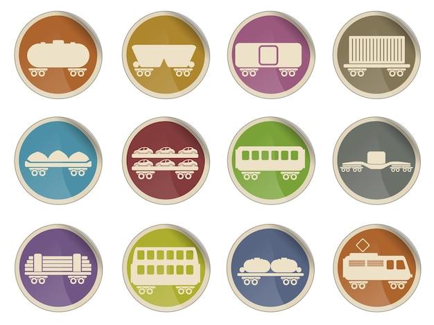 鉄道貨物交通の単純なベクトルアイコンセット