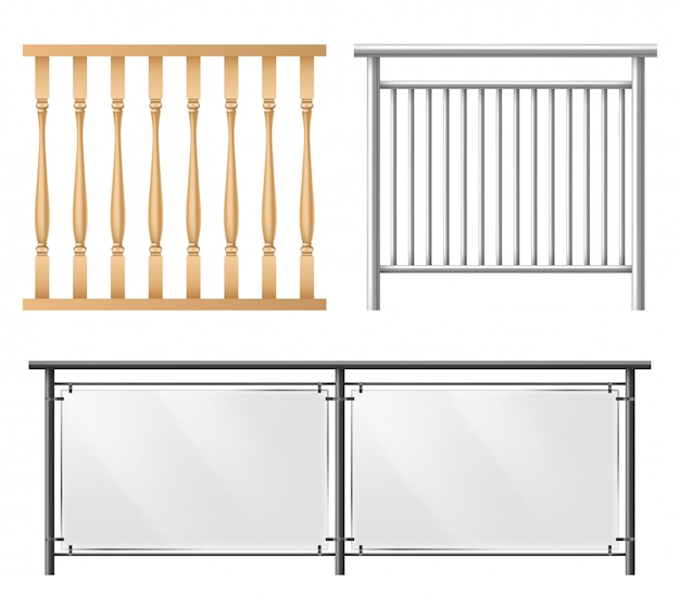 Railings, fence sections realistic vector set