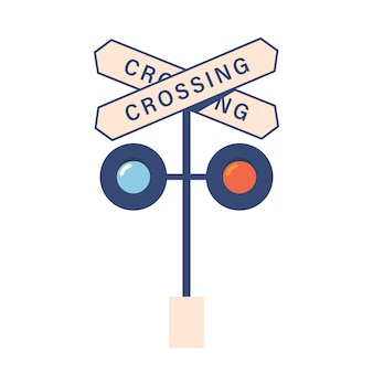 白い背景で隔離の踏切標識と信号機のアイコン。鉄道駅、機関車の交差点のシンボル、輸送ナビゲーション機器。漫画のベクトル図
