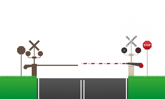 Railroad crossing vector illustration