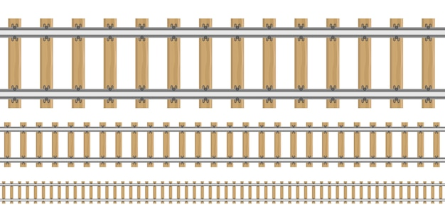 Railroad in different sizes illustration isolated on white background