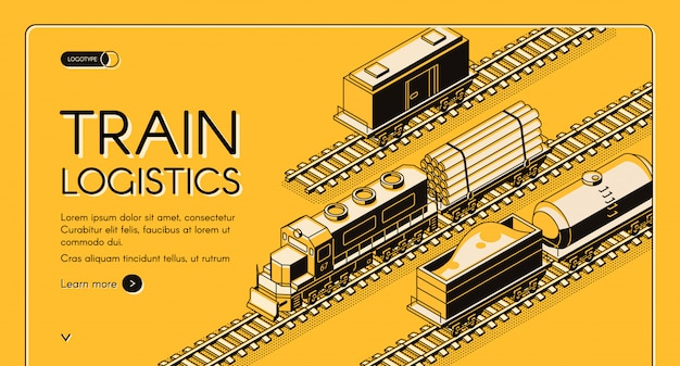 Railroad industrial transport company isometric vector web banner