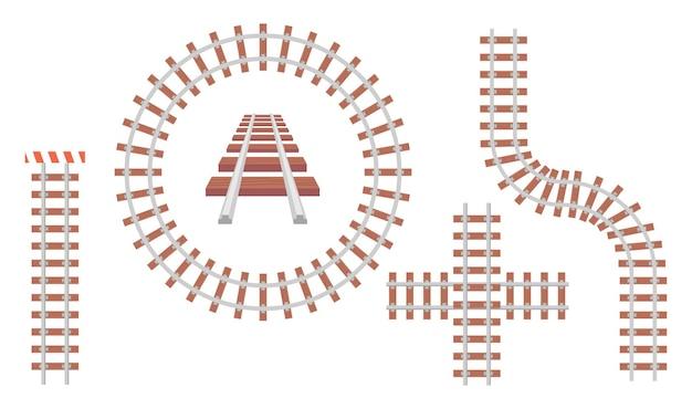 원형, 직선, 교차 및 곡선 모양의 철도 트랙. 교통 표지판 아이콘, 교통 철도 방법 라인 상단 및 흰색 배경에 고립 된 관점 보기. 만화 벡터 아이콘 세트