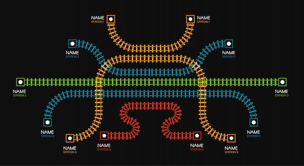 Railroad tracks, railway  direction, train tracks colorful  illustrations. colorful stairs, subway stations map top view, infographic elements.