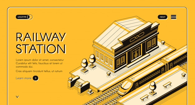 Railroad transport isometric web banner