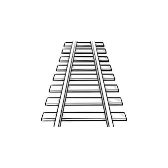 Рельсы рисованной наброски каракули значок. железнодорожный путь, железнодорожный и железнодорожный транспорт, концепция стальных рельсов. векторная иллюстрация эскиз для печати, интернета, мобильных устройств и инфографики на белом фоне.