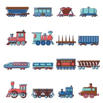 Railway carriage icons set