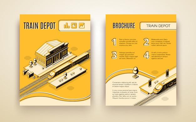 Railway company isometric promo brochure