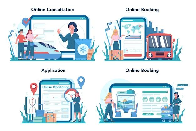 Railway conductor online service or platform set. railway worker in uniform on duty. train conductor help passenger in journey. online consultation, booking, application.