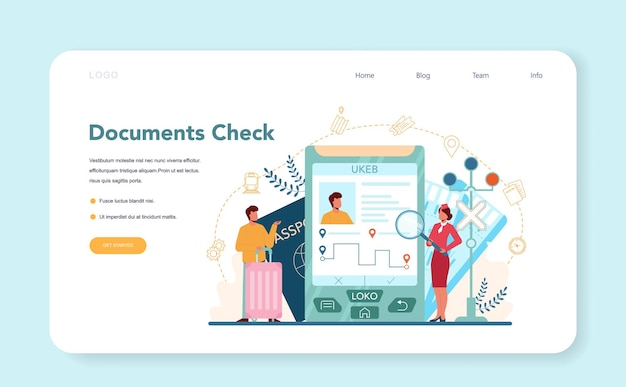 Railway conductor web template or landing page. railway worker checking document. train conductor help passenger in journey. idea of professional occupation and tourism. vector illustration