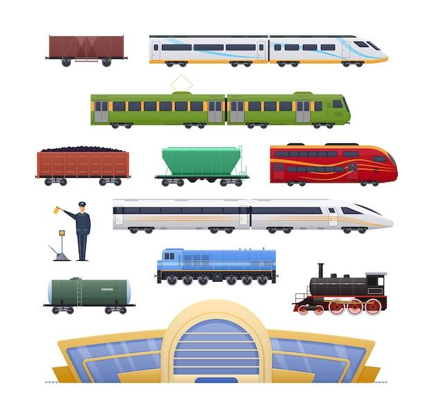 Железнодорожный локомотив с различными вагонами пассажирскими и грузовыми