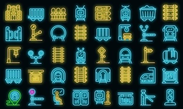 Набор иконок железнодорожной платформы вектор неон