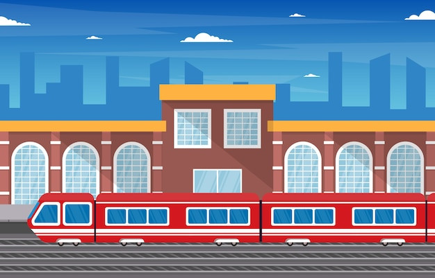 Railway public transport commuter metro train station flat illustration
