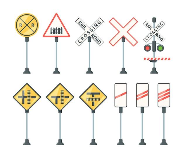 Железнодорожные знаки. поезд барьеры светофора конкретные символы стрелки направления дороги и баннеры векторные плоские картинки. иллюстрация дорожный железнодорожный знак, светофор