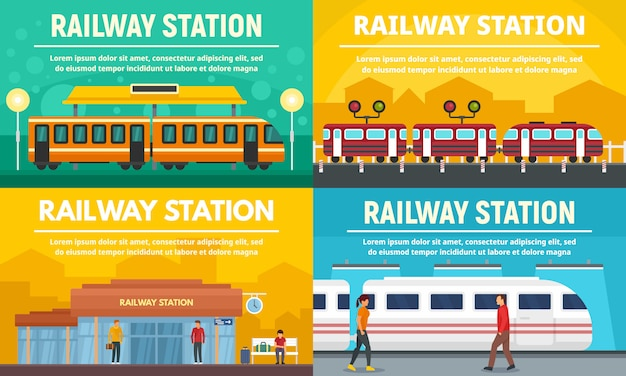 Railway station banner set