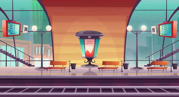 鉄道駅、列車用の空のプラットフォーム
